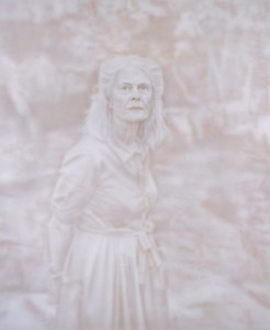 The winning portrait of Penelope Seidler by Fiona Lowry.
