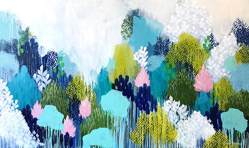 nature, large, floral, trees, abstract, landscape, blue, blush, Greenery, pretty, Clair Bremner