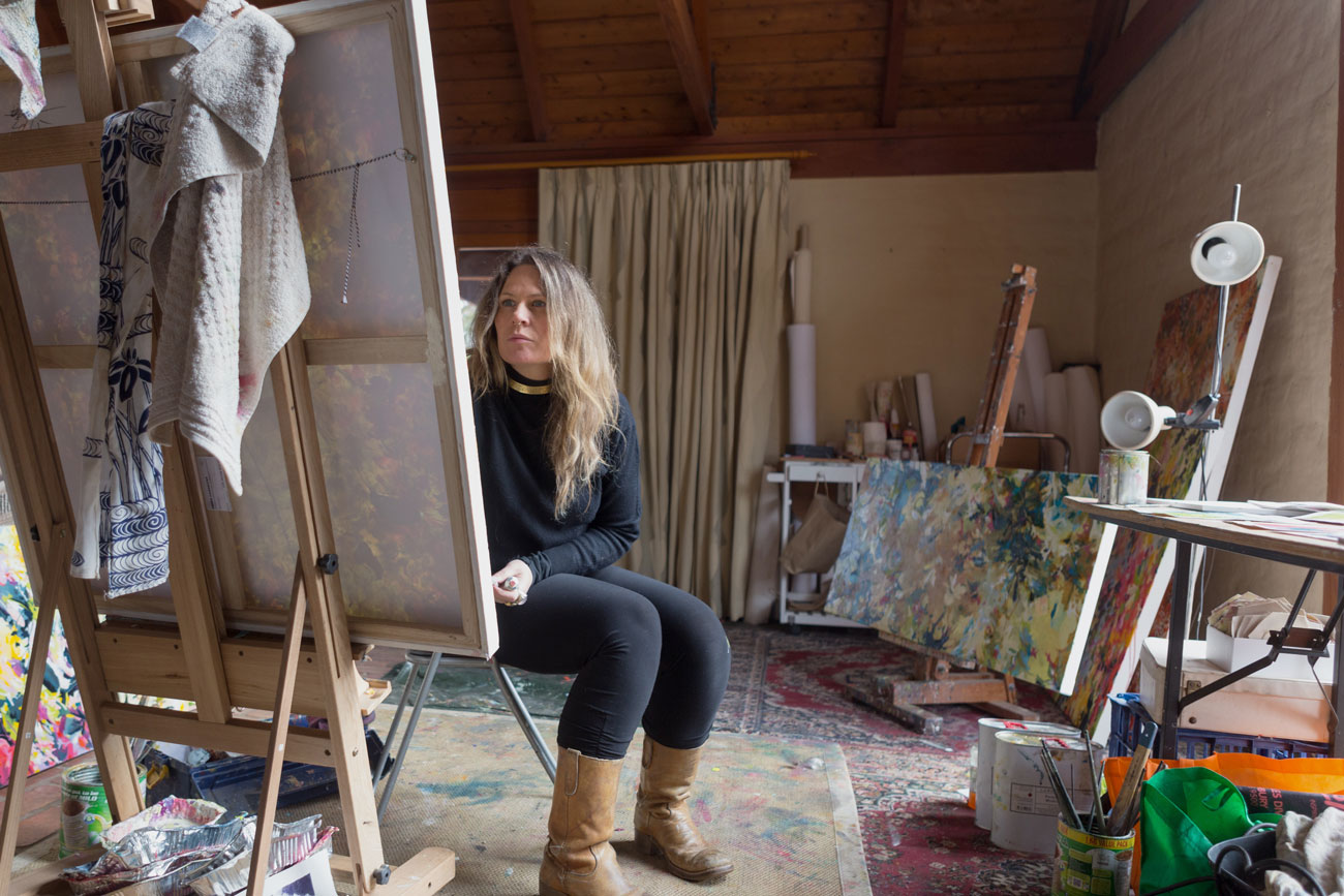 artist working in studio