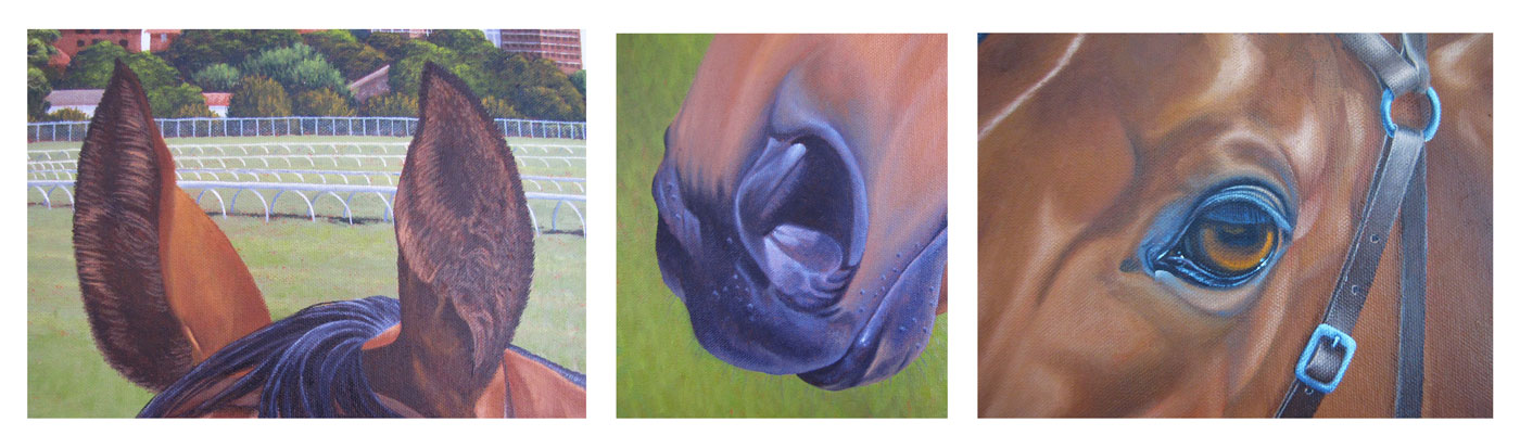 Detail close up of Race Day by Elene Parashko. Original horse art on Bluethumb.
