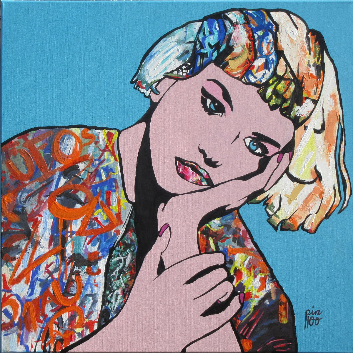 Graffiti Girl by Lesley Taylor. Australian pop art for sale on Bluethumb