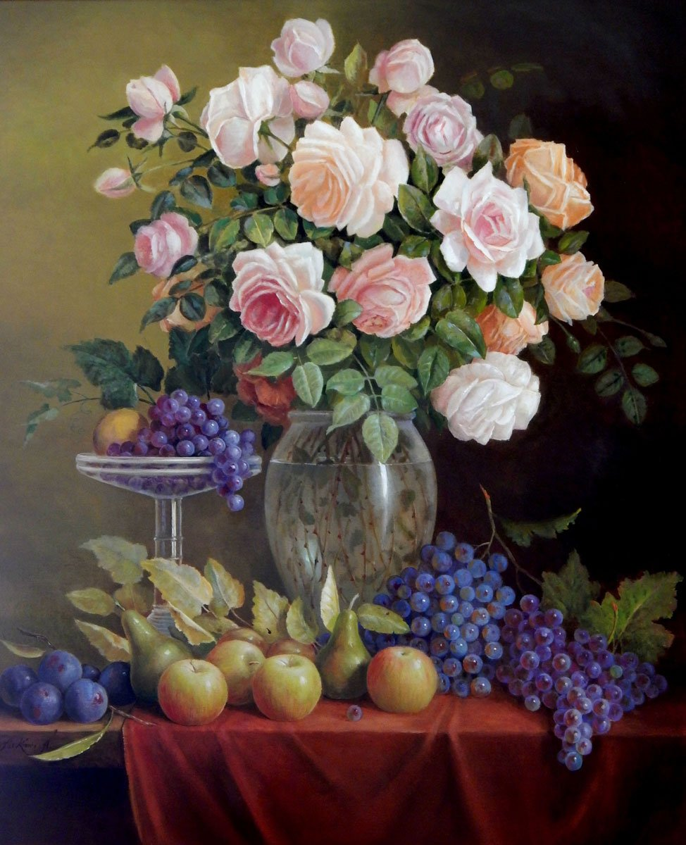 """Big floral, Grapes and roses in Art Deco vase"" by Jos Kivits, Original paintings by technical masters for sale on Bluethumb"