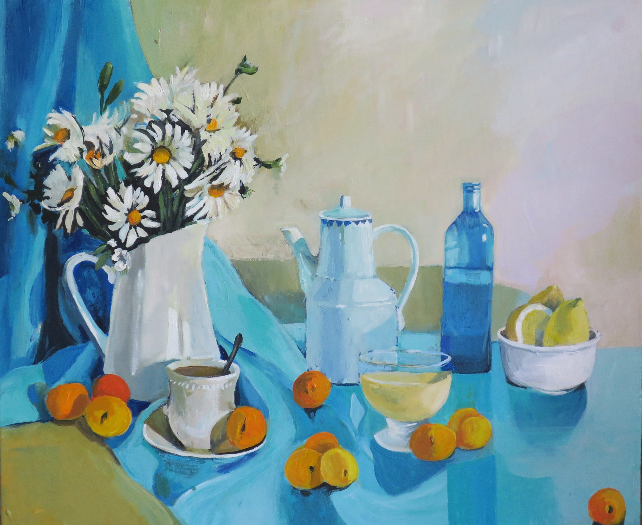 Floral Still Life - Daisies and Peaches by Susan Trudinger. Acrylic painting