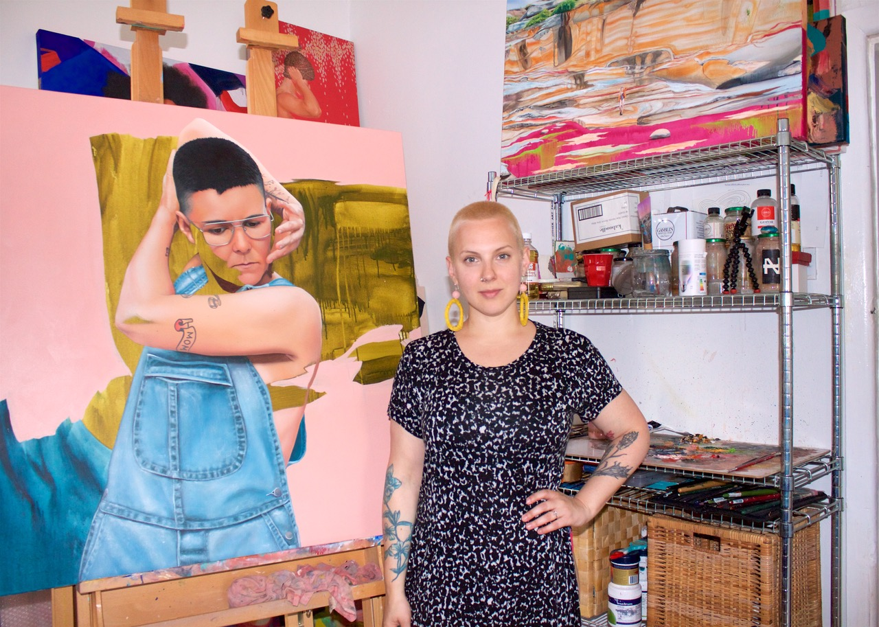 Local Sydney artist Kim Leutwyler with her portrait Cole