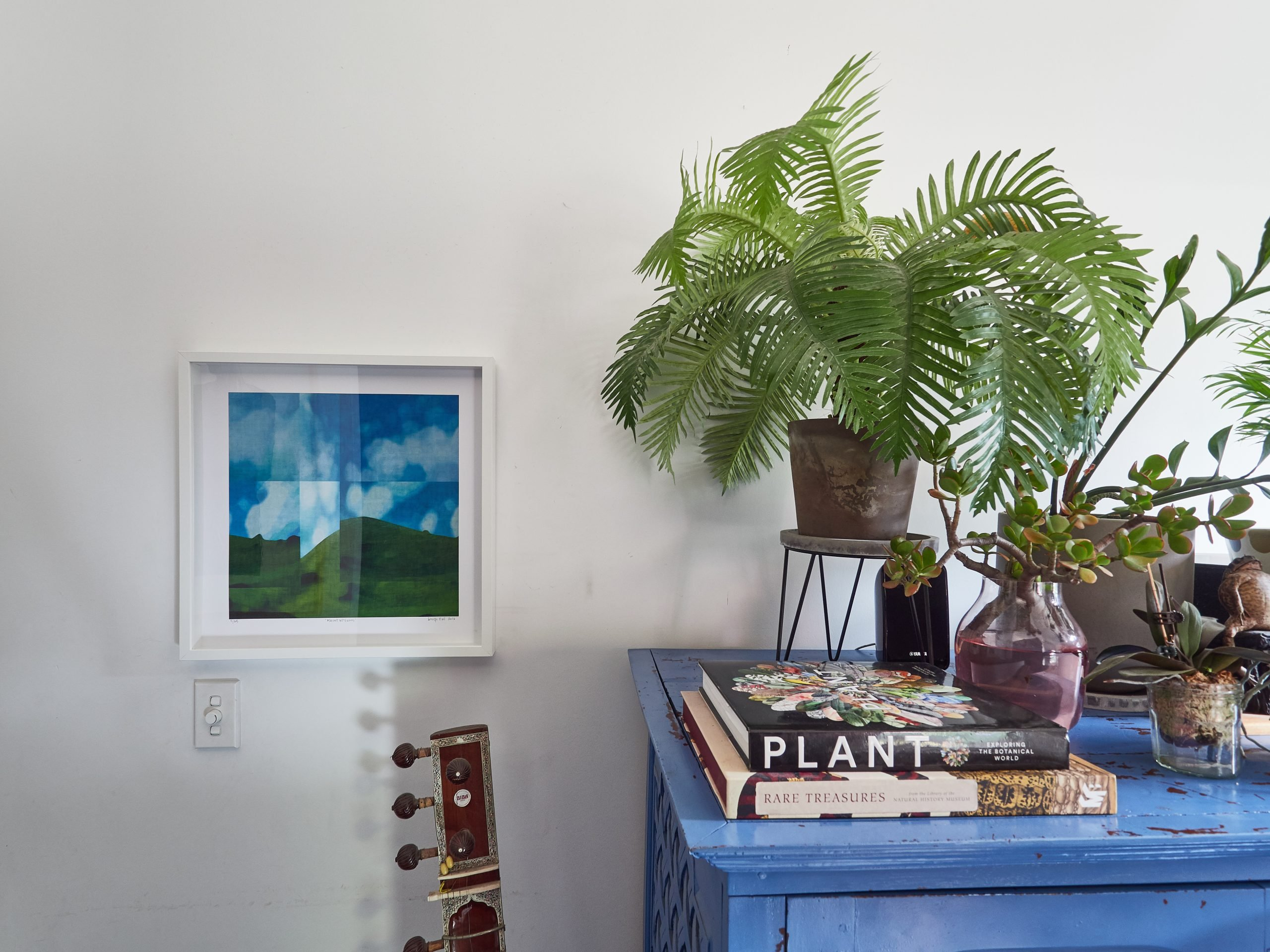 Artwork by George Hall hanging in Sally Browne's living room.