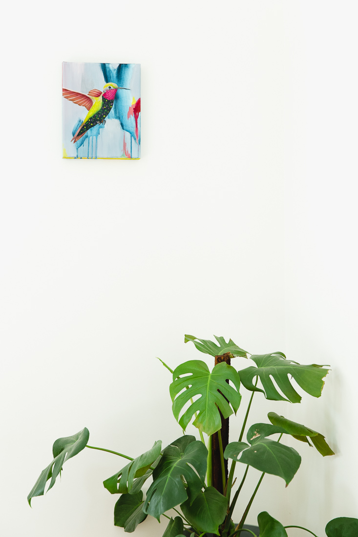 Kim Leutywler painting and monstera