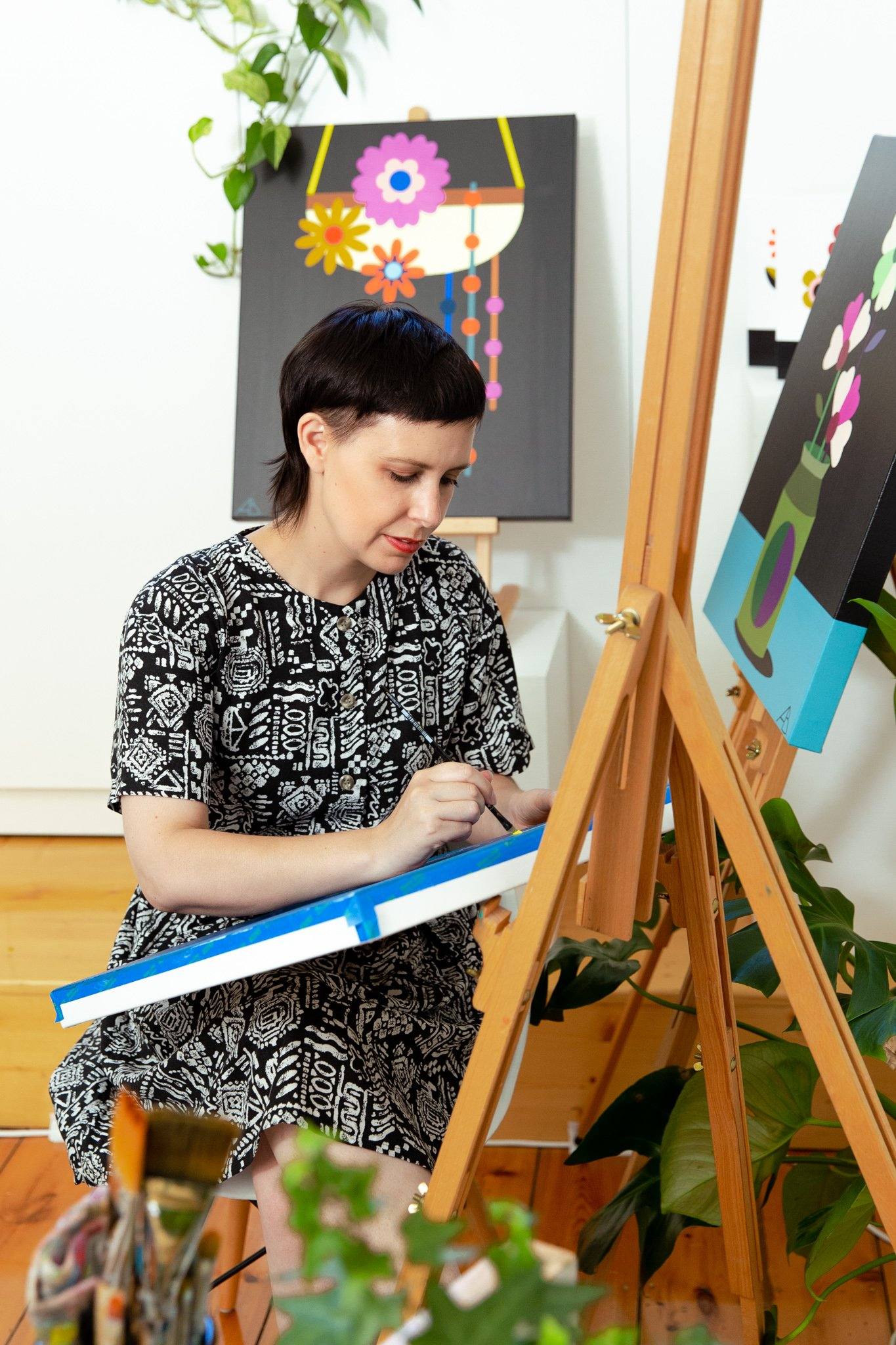 Andria Beighton painting her Soul-inspired artwork.