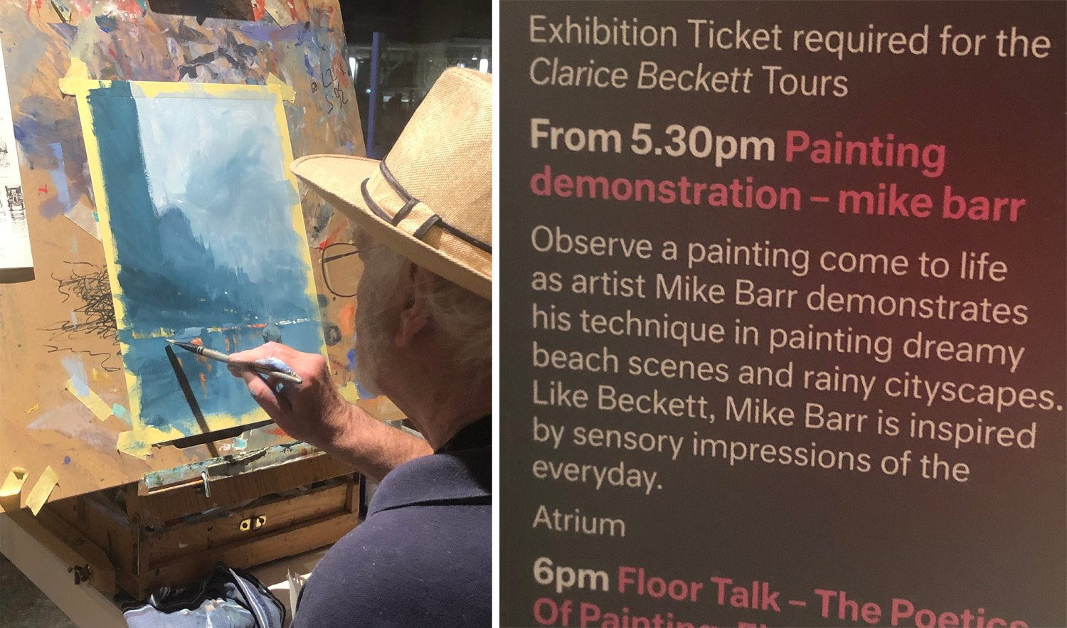 Mike Barr at the Clarice Beckett exhibition